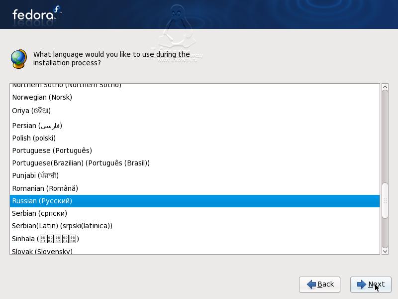 Установка Linux Fedora 9.Выбор языка.